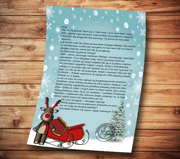 list od renifera Rudolfa